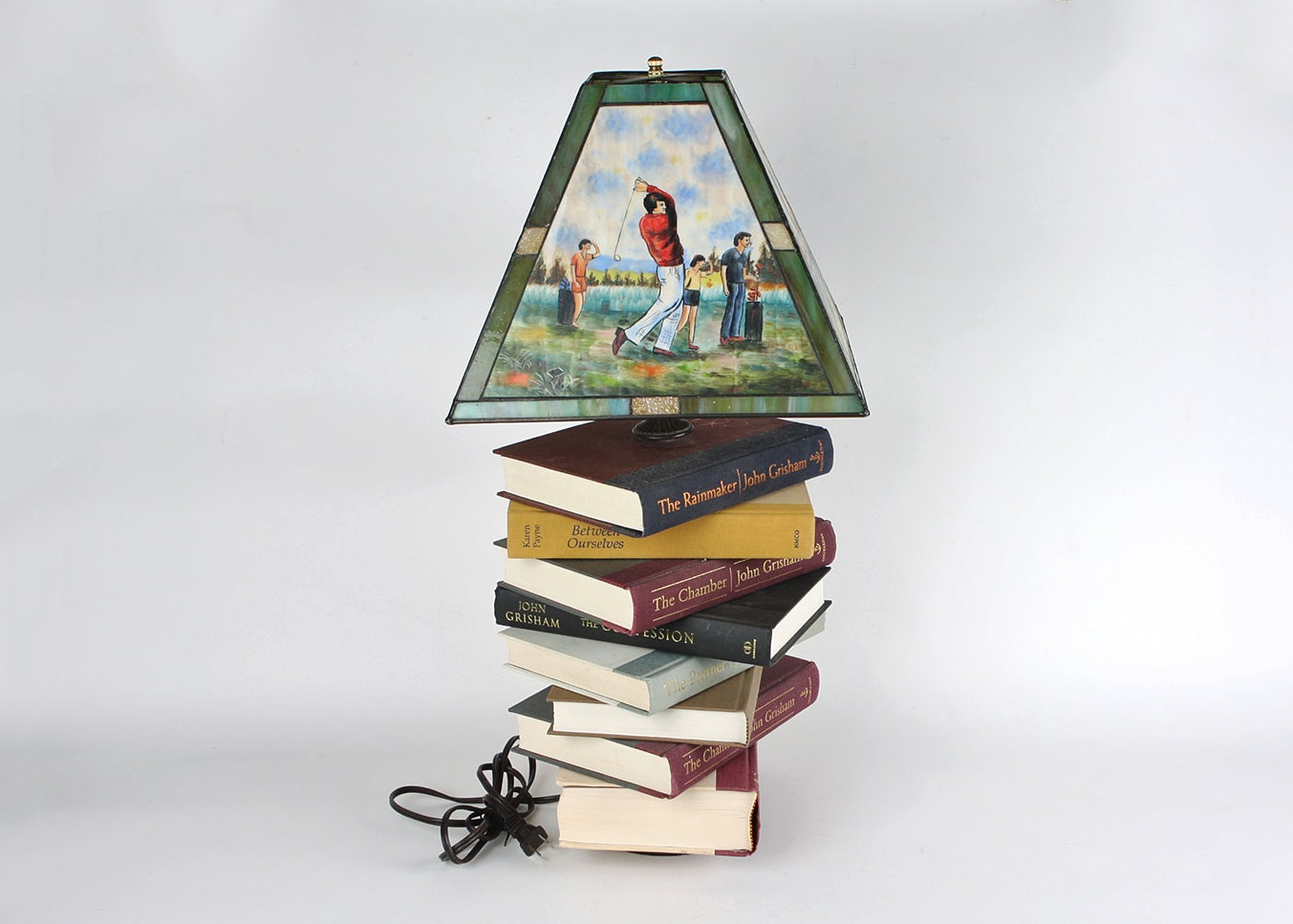 Quirky Book Table Lamp With Hand Painted Golf Theme Shade ...