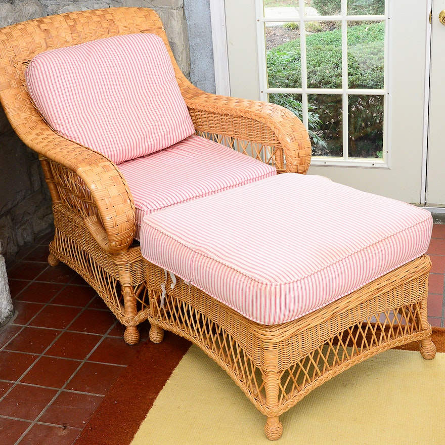 henry link wicker patio chair and ottoman ebth. Black Bedroom Furniture Sets. Home Design Ideas