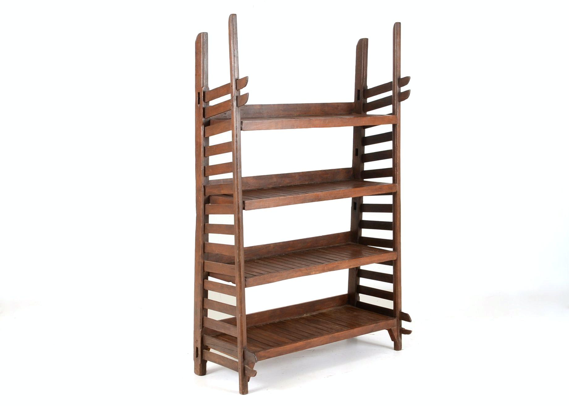 Rustic Asian Elm Shelf Stand