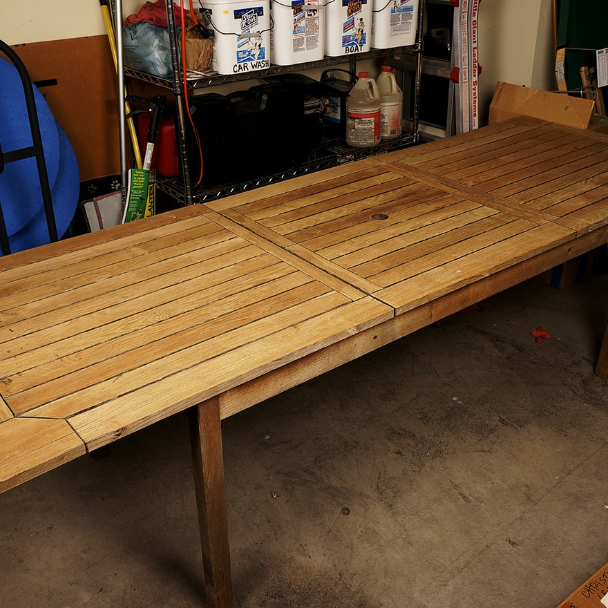 Large Extendable Teak Deck Table EBTH - Teak deck table
