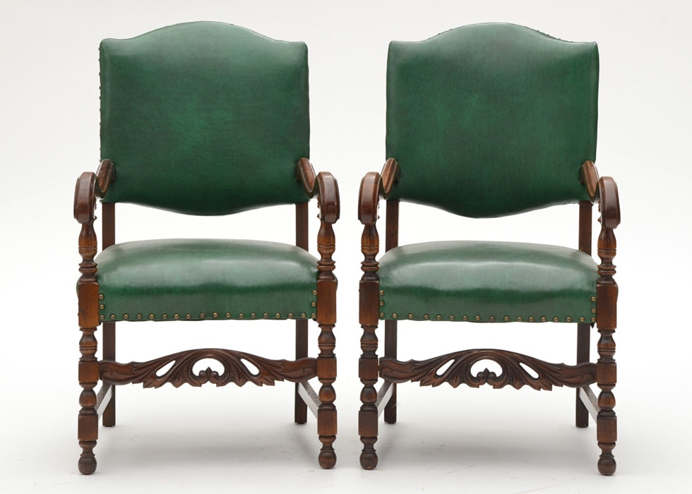Pair Of Jacobean Style Walnut Arm Chairs