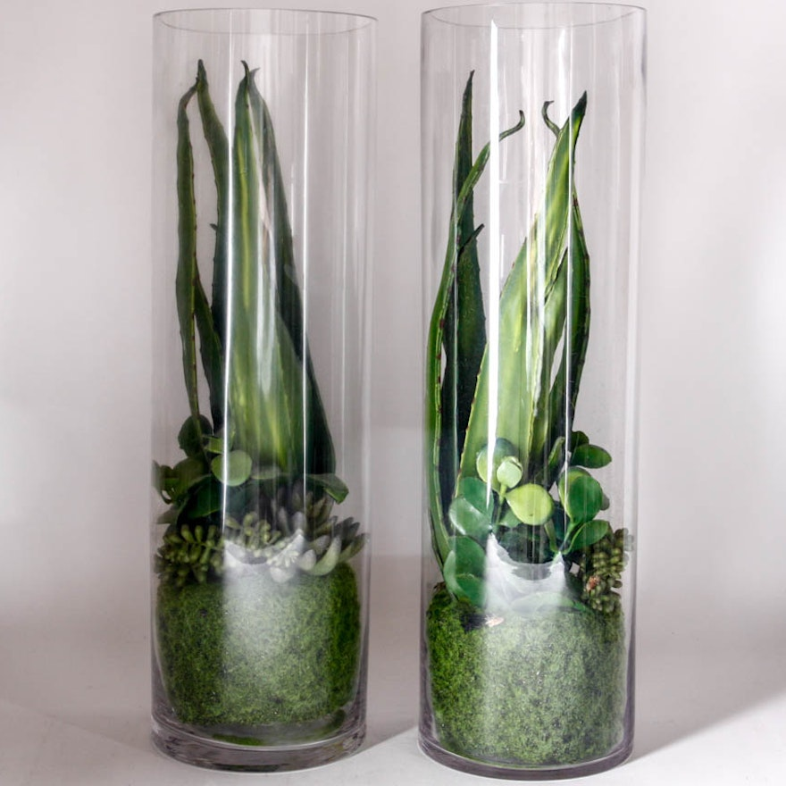 Pair Of Faux Cactus In Glass Cylinder Vases Ebth