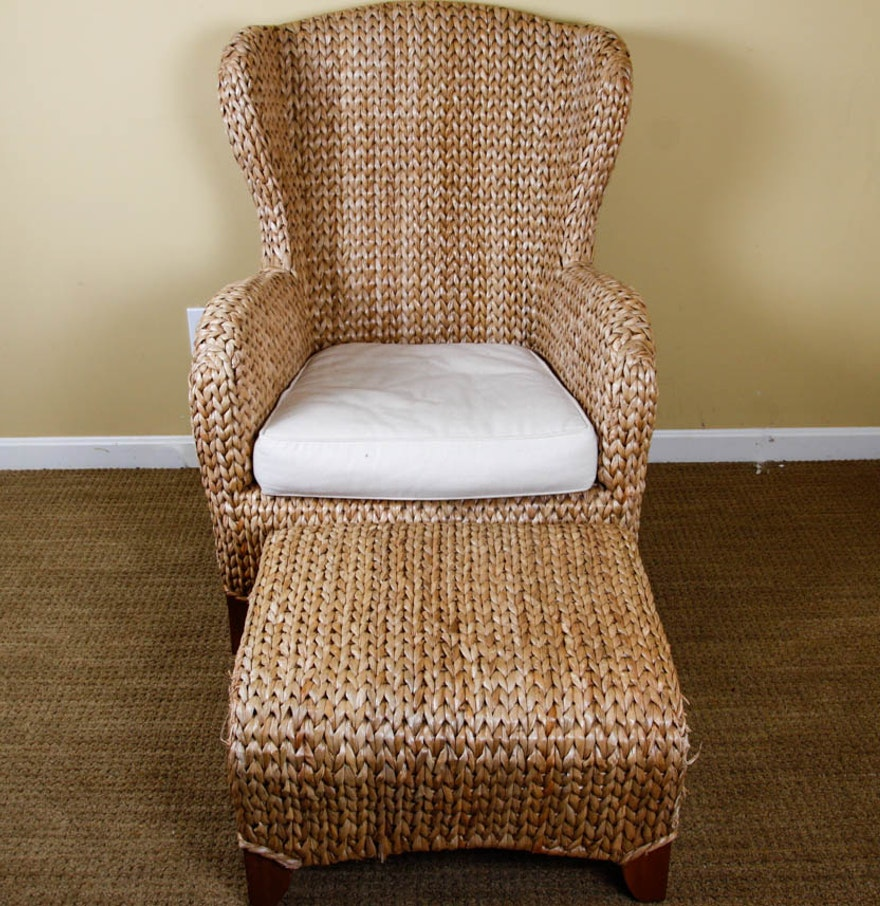 Pottery Barn Chairs And Ottomans: Pottery Barn Seagrass Wingback Armchair And Ottoman : EBTH
