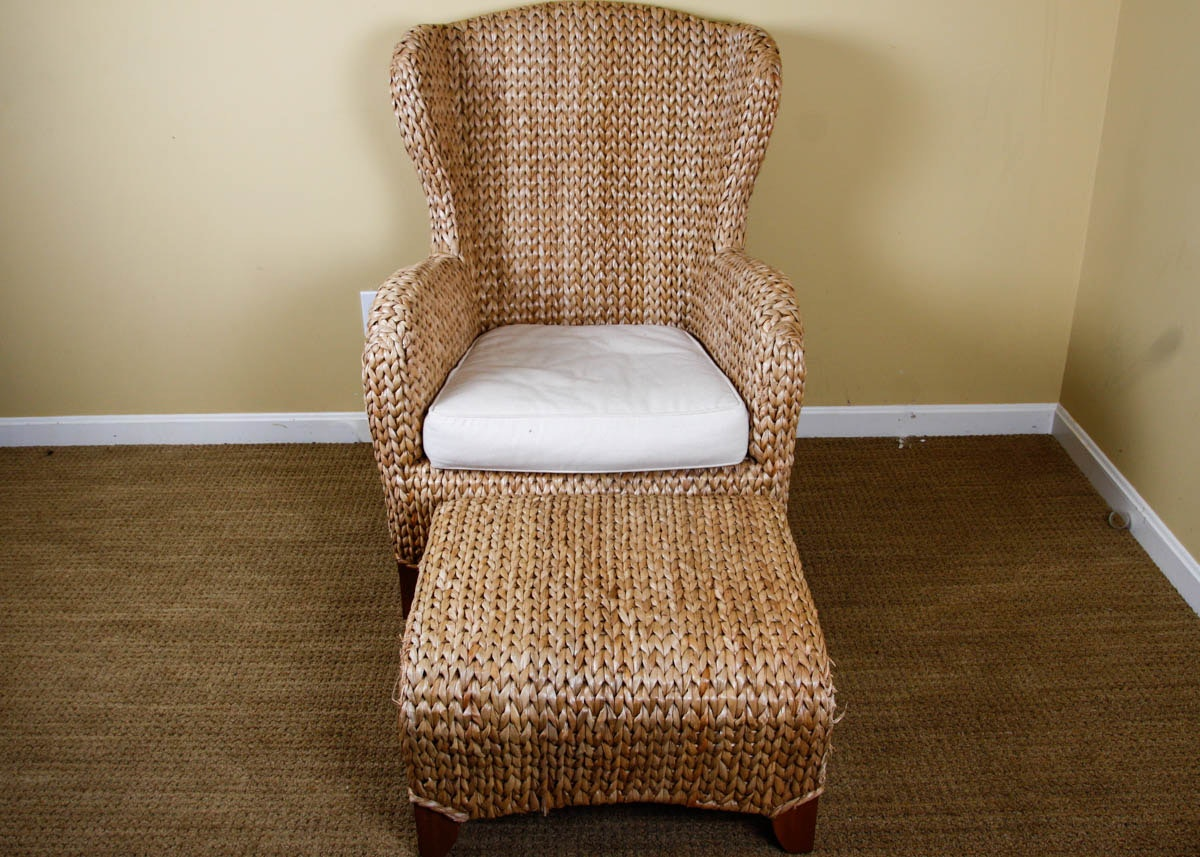 Pottery Barn Seagrass Wingback Armchair And Ottoman ...
