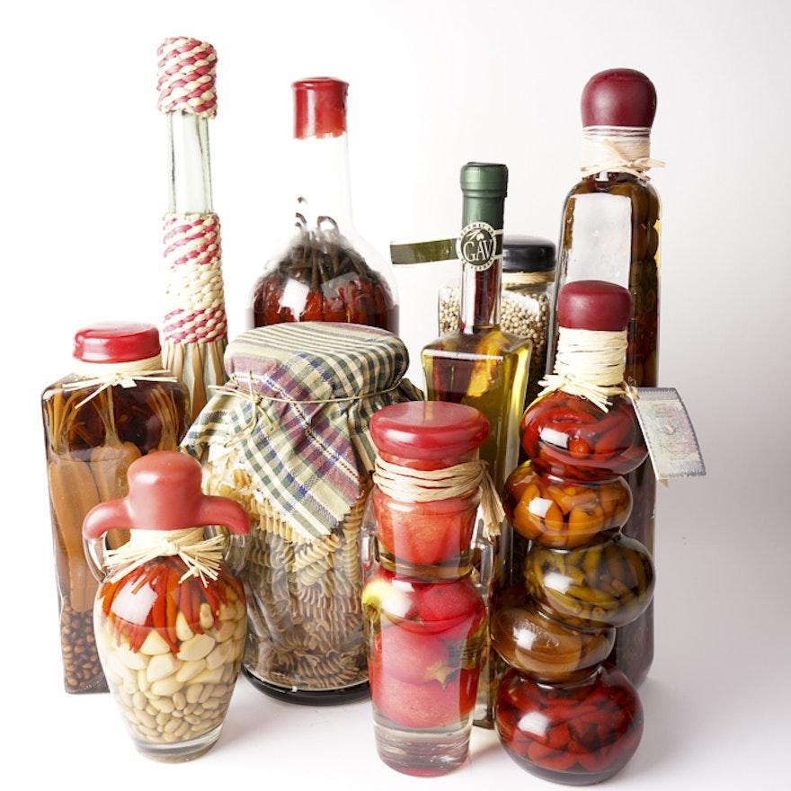 Assortment Of Decorative Vegetable Filled Vinegar Bottles EBTH Magnificent Decorative Bottles With Vegetables In Vinegar
