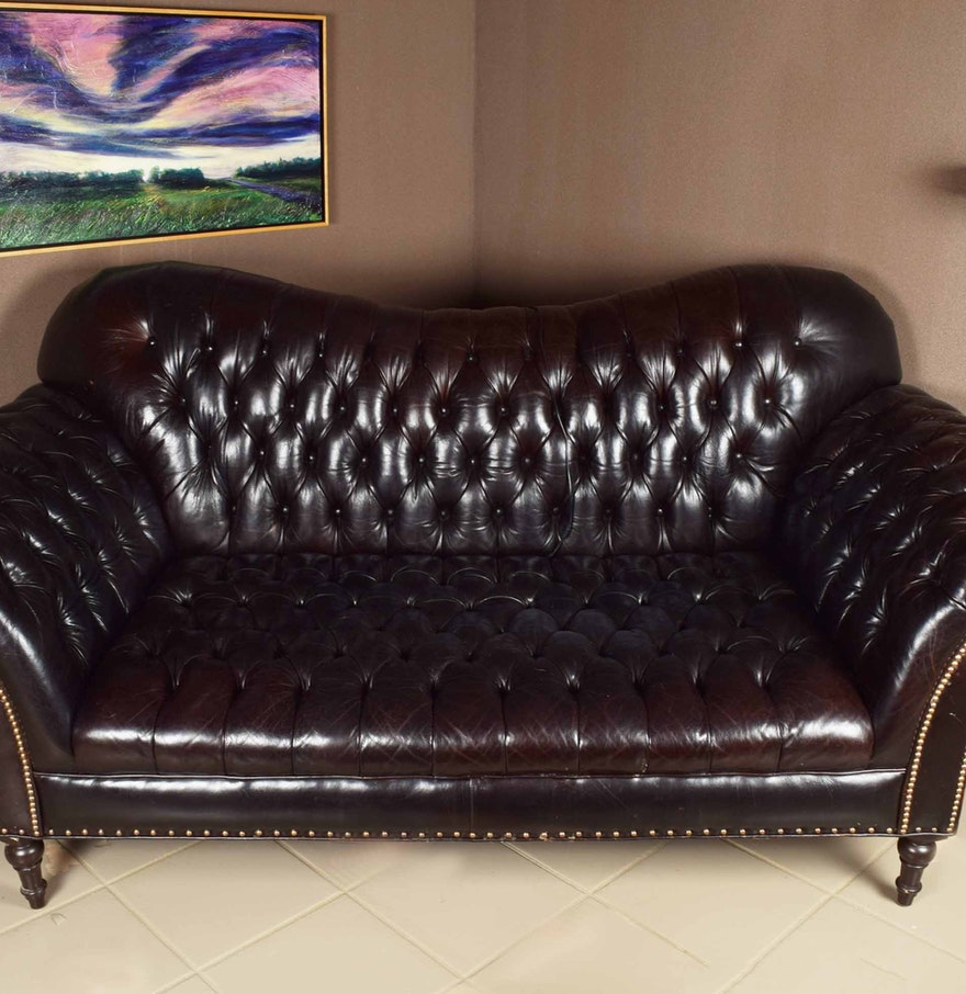 Arhaus Club Petit Chesterfield Style Tufted Leather Sofa EBTH - Arhaus club sofa