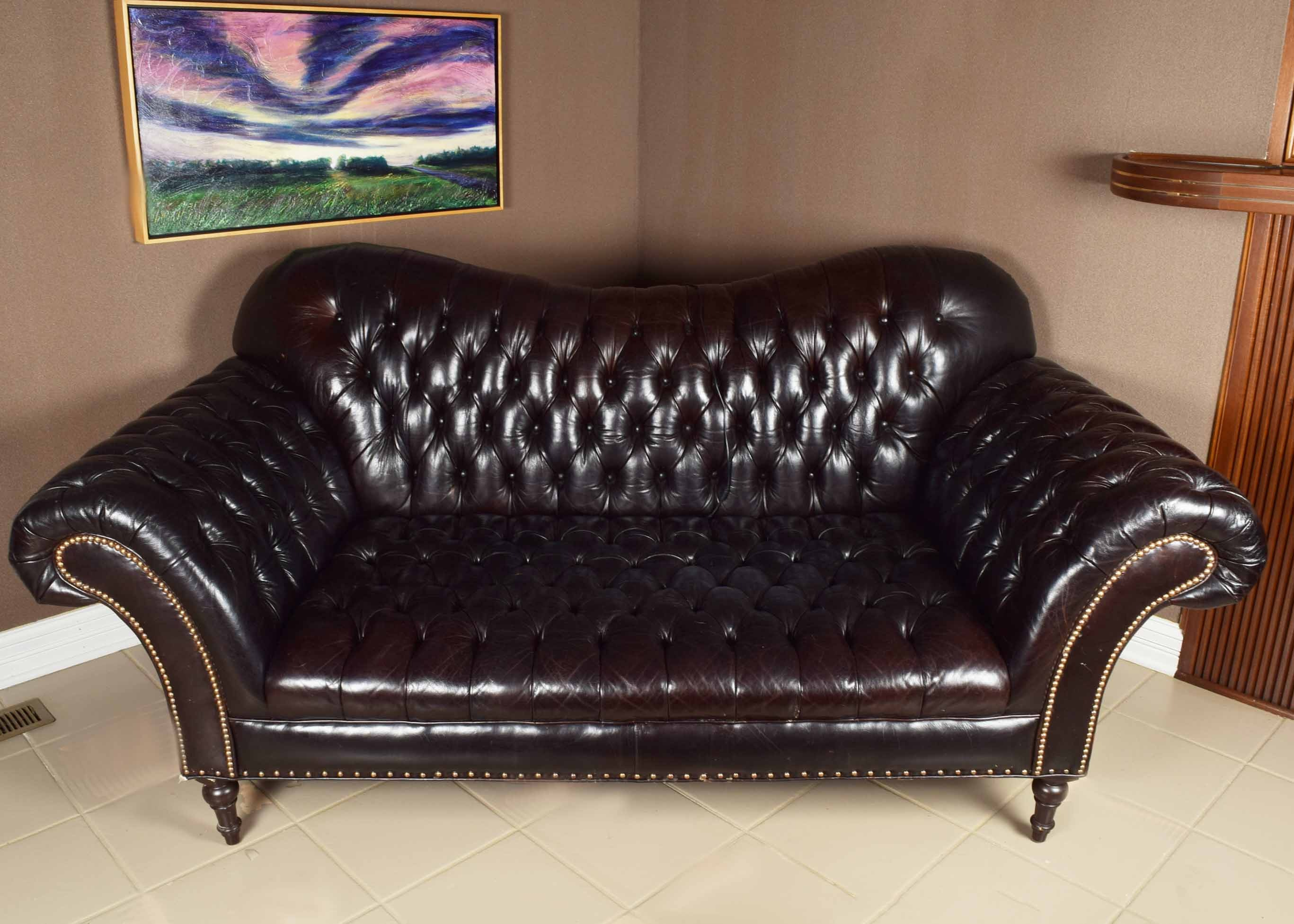 Arhaus Club Petit Chesterfield Style Tufted Leather Sofa .