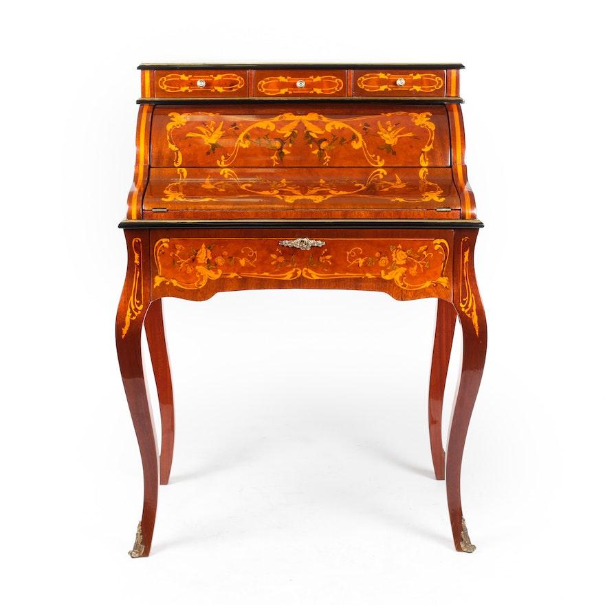 Antique Marquetry Secretary Desk ... - Antique Marquetry Secretary Desk : EBTH