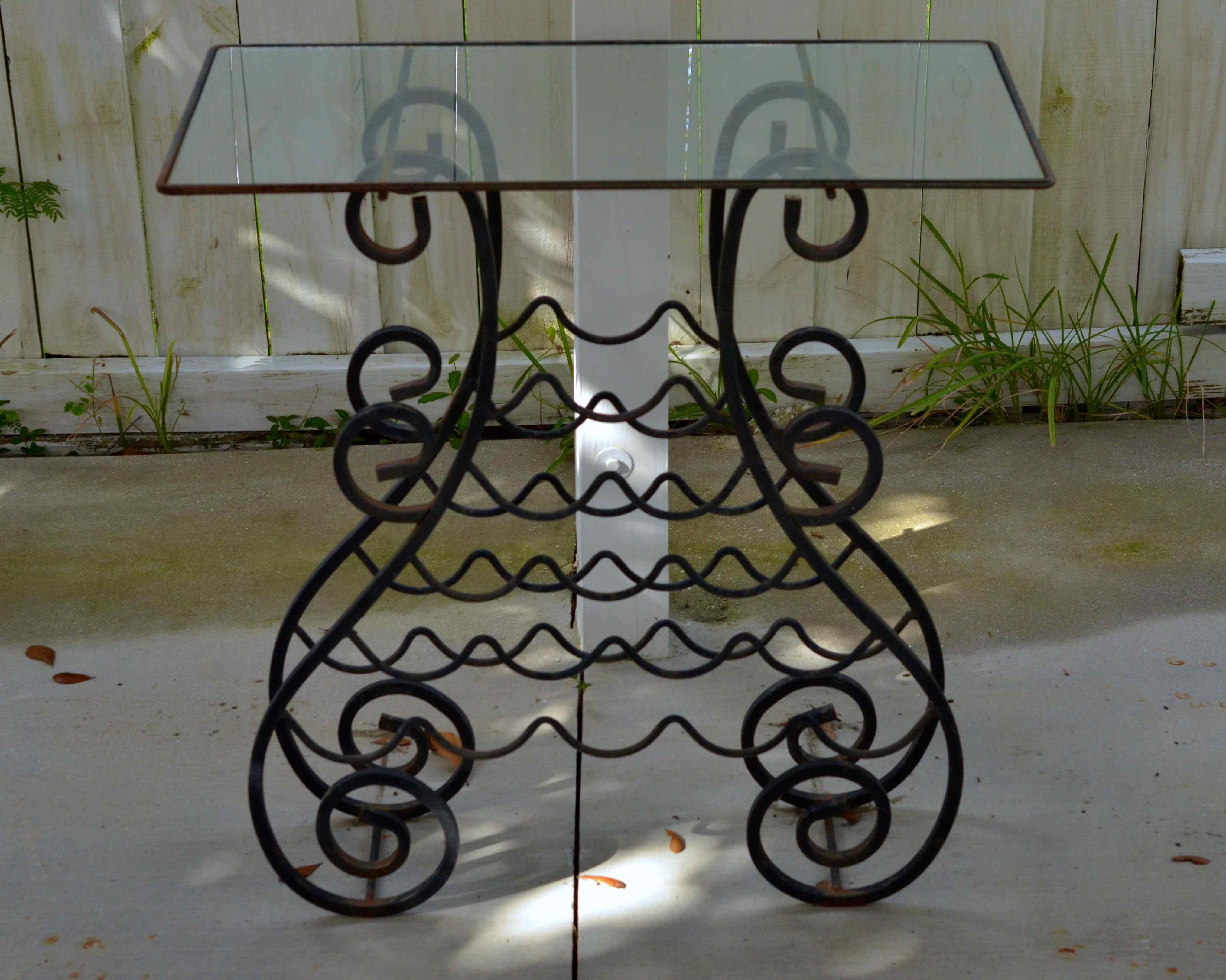 Glass Top Wine Rack Table Ebth