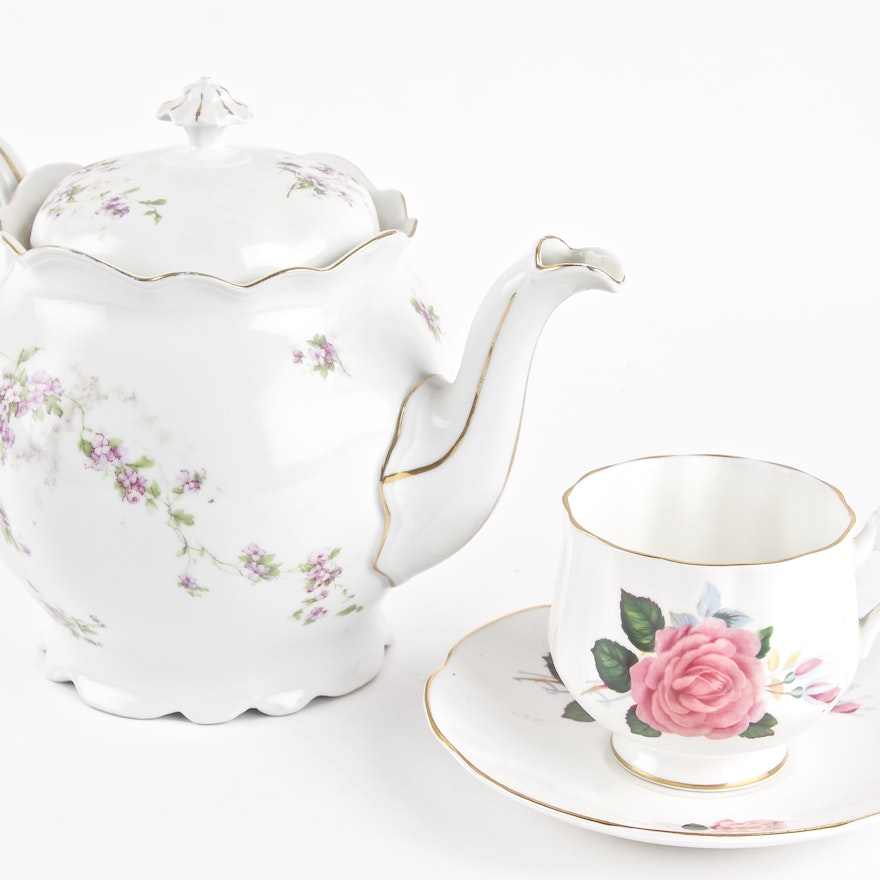 MZ Austria Teapot with Royal Dover Teacup and Saucer