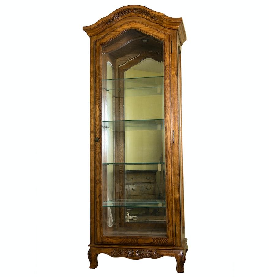 Victorian style oak wood curio cabinet ebth