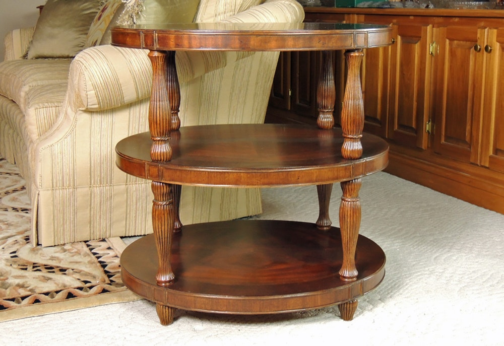 Three Tier Oval End Table