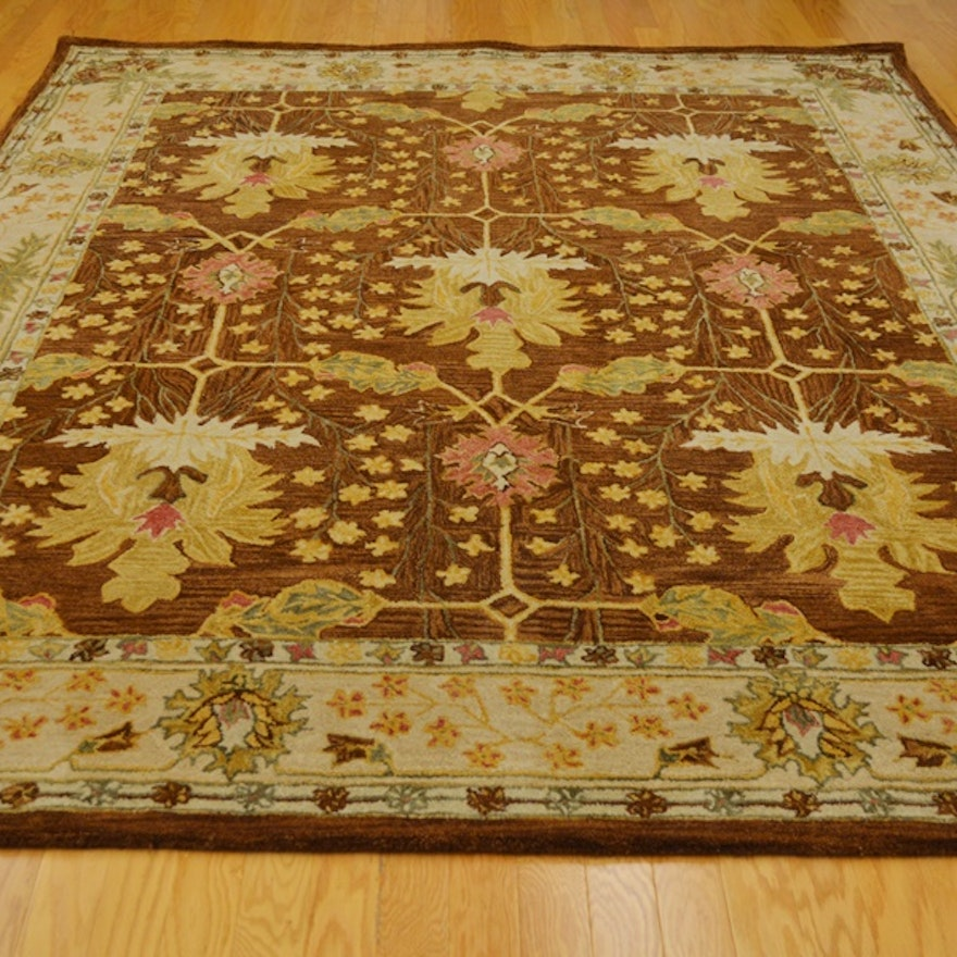 Arts And Craft Style Voysey Design Floral Wool Area Rug Ebth