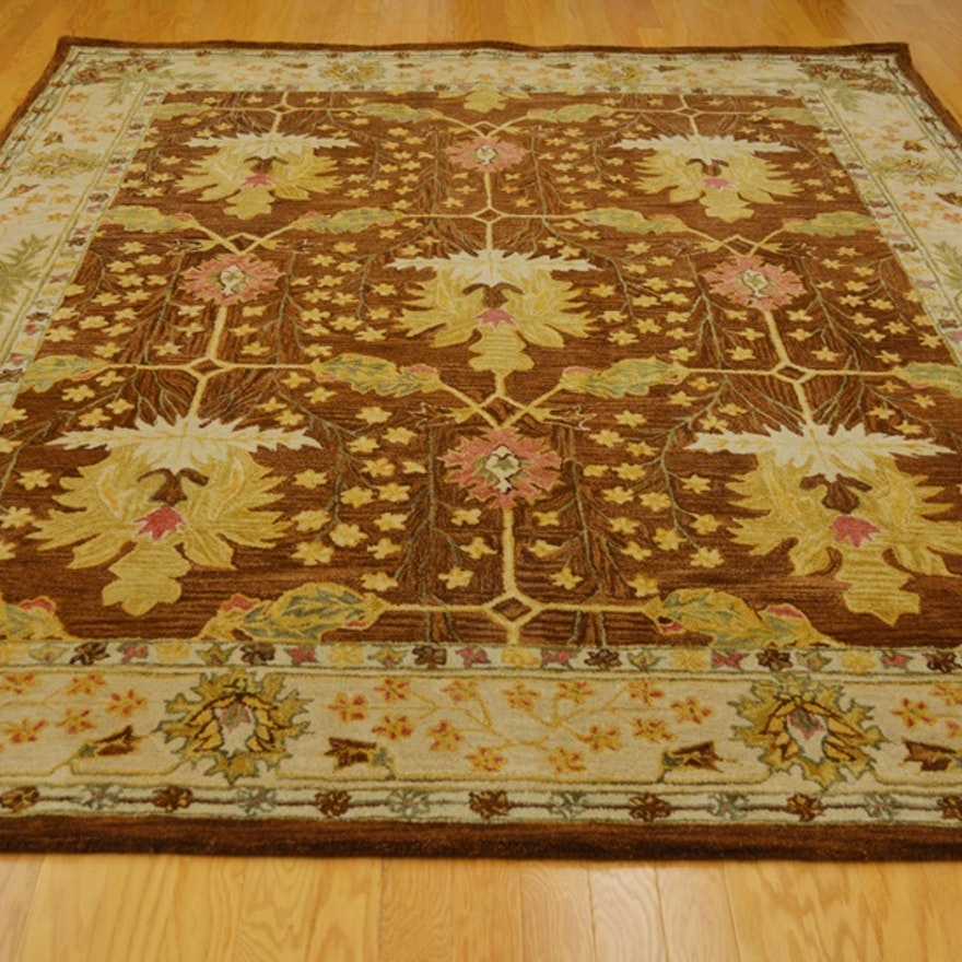 Arts And Craft Style Voysey Design Fl Wool Area Rug