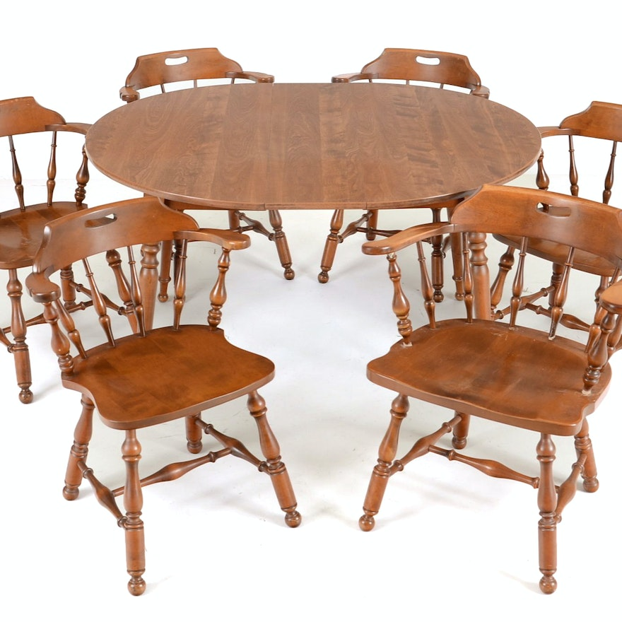 early american style maple dining table and six chairs ebth