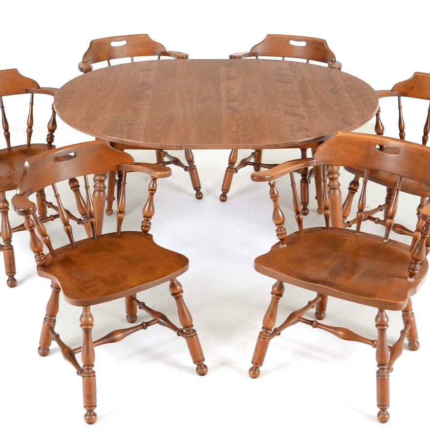 Early American Style Maple Dining Table And Six Chairs : EBTH