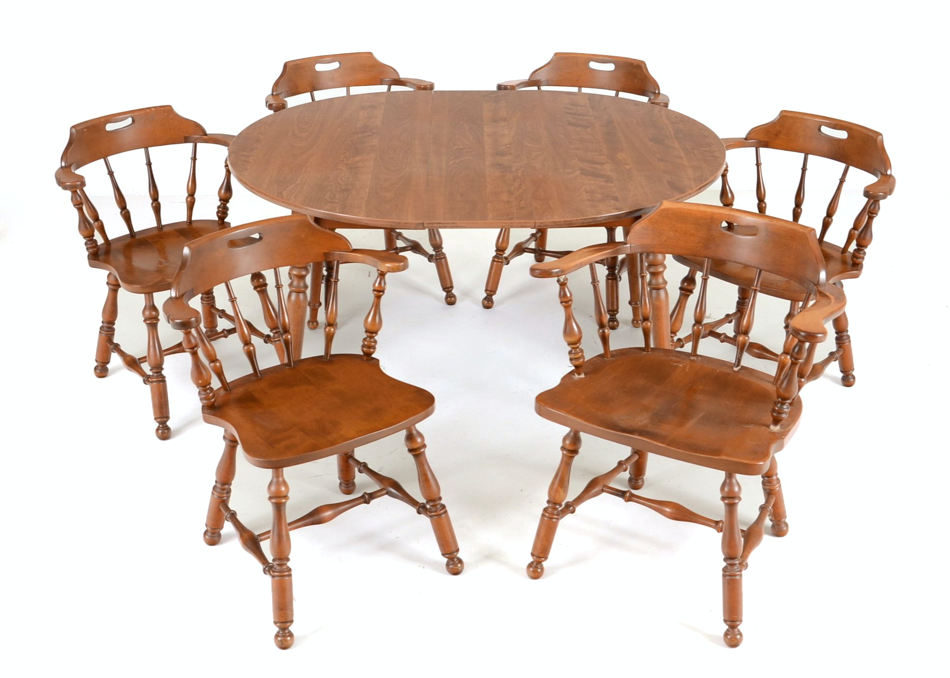 Early American Style Maple Dining Table And Six Chairs ...