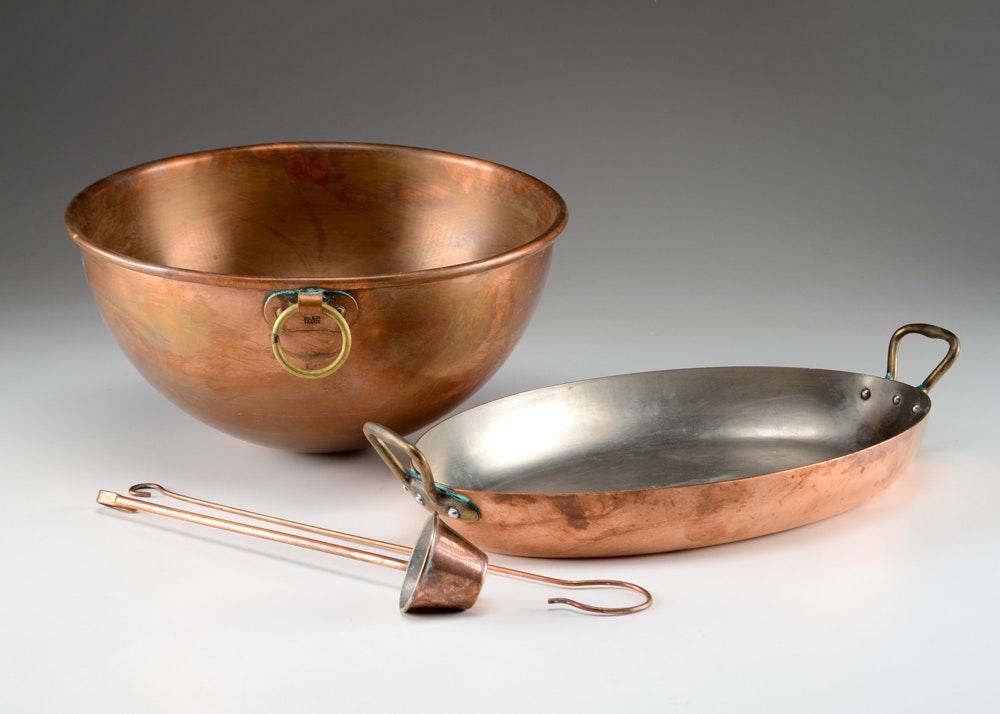 Set Of Vintange Villedieu Copper Cookware Ebth