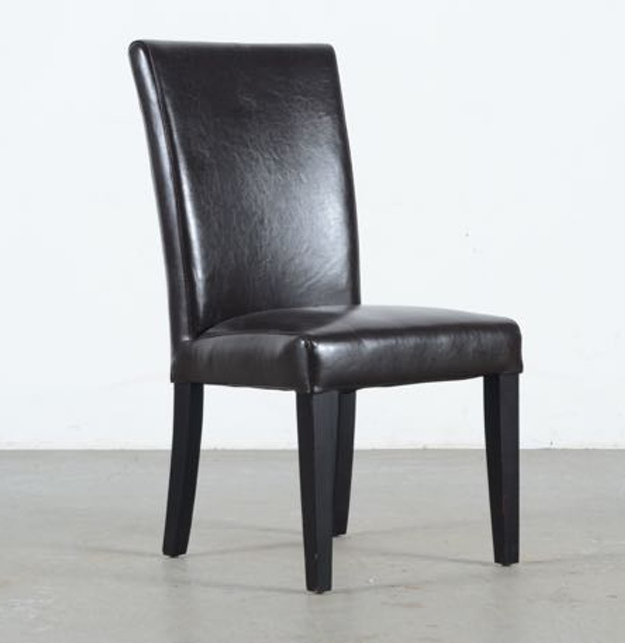Black leather parsons style chair ebth for What is a parsons chair style
