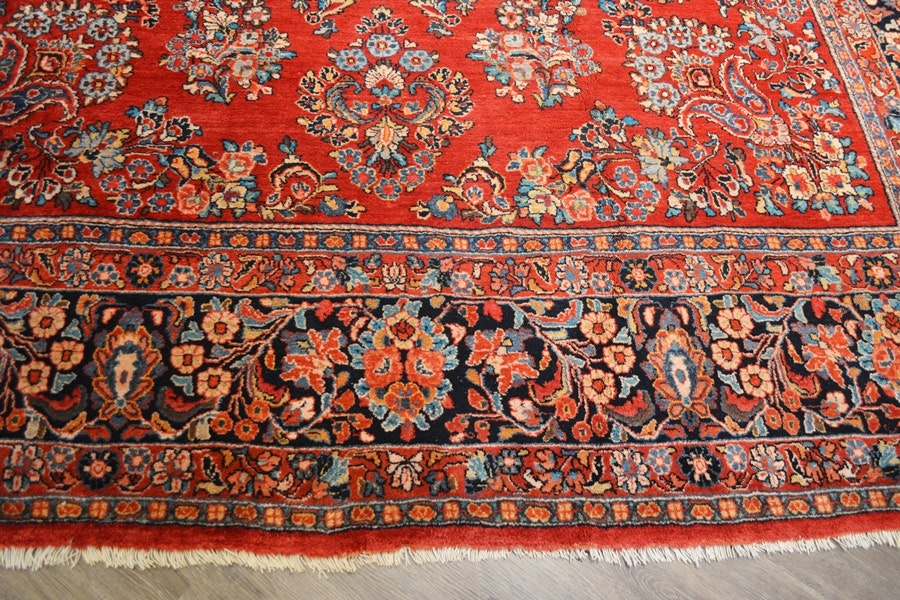 1920 Large Persian Sarouk Style Red Floral Wool Area Rug