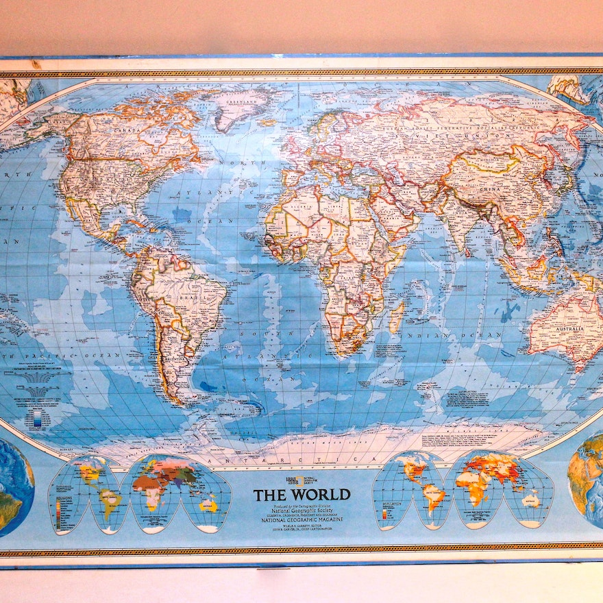 National Geographic Framed World Map Ebth