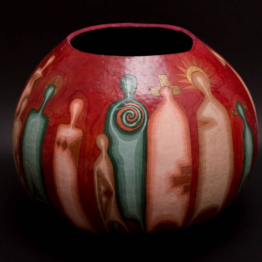 Decorative Gourd Bowl : EBTH on decorative gourd lamps, decorative gourd art, decorative gourd birdhouses, decorative gourd dolls, decorative gourds and squash, decorative gourd vessels,