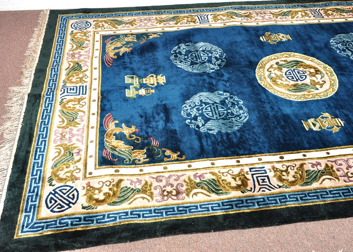 Chinese Handwoven Silk Rug Ebth
