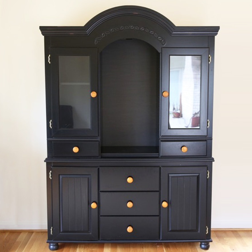 Black Display Cabinet With Glass Doors Ebth