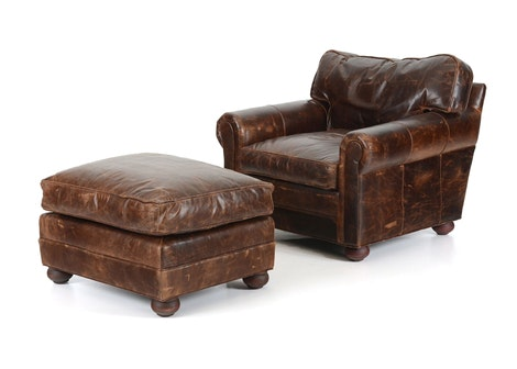 Restoration Hardware Leather Chair And Ottoman Ebth