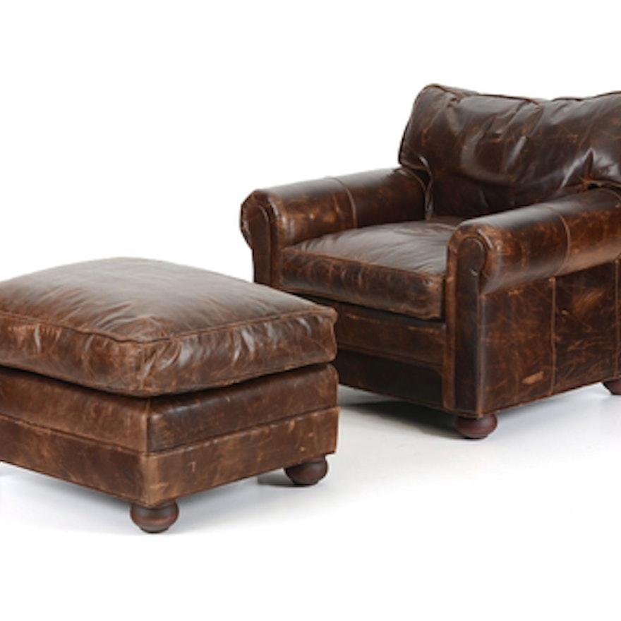 Restoration Hardware Leather Chair: Restoration Hardware Leather Chair And Ottoman