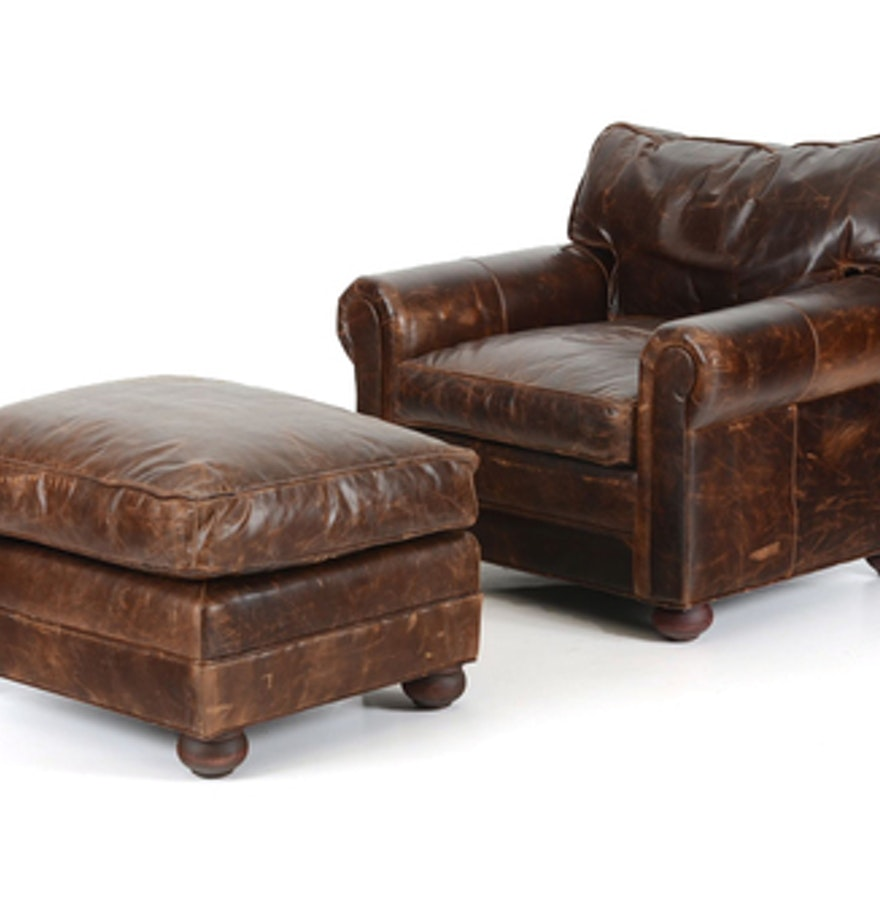 Restoration Hardware Leather : Restoration hardware leather chair and ottoman ebth