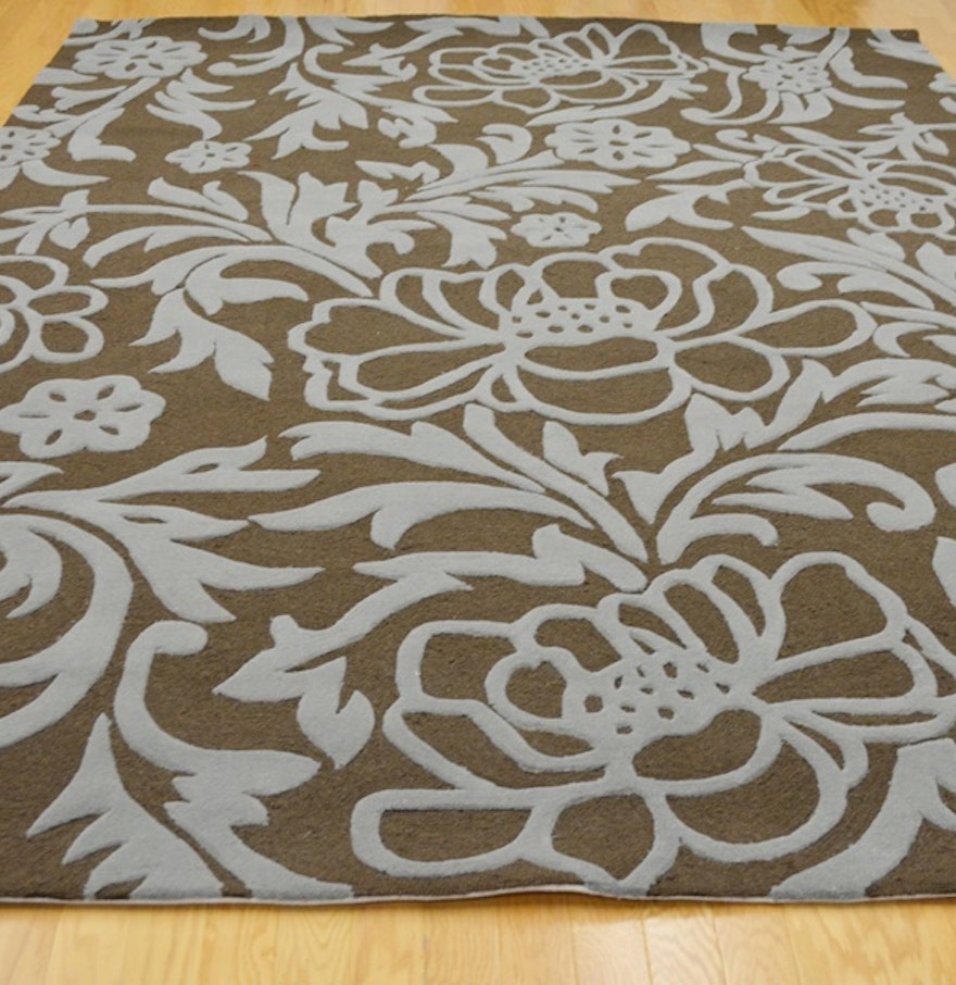 Acanthus leaf steel blue and mocha high low wool area rug for Acanthus leaf decoration