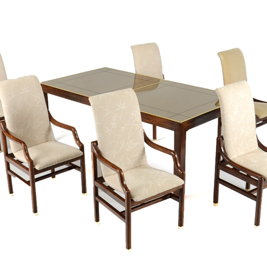 Henredon Mirrored Dining Table and Chairs | EBTH