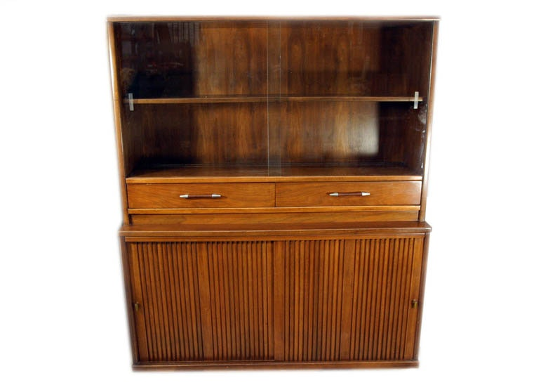 Vintage Mid Century Modern Craddock Walnut China Cabinet