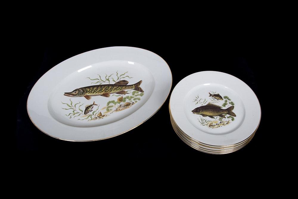 JKW Porcelain Fish Dinnerware ... & JKW Porcelain Fish Dinnerware : EBTH