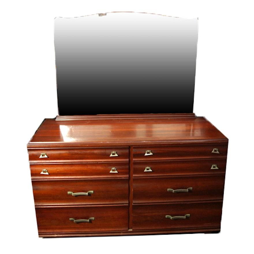 mid century modern kling cherry wood dresser with mirror ebth. Black Bedroom Furniture Sets. Home Design Ideas