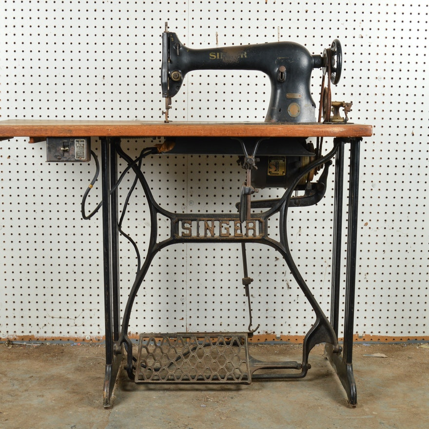 Antique Industrial Singer Sewing Machine