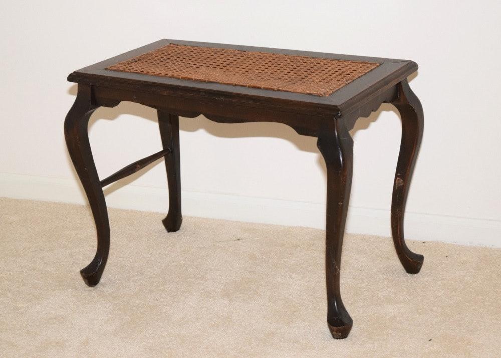 Queen Anne Style Wooden Wicker Bench