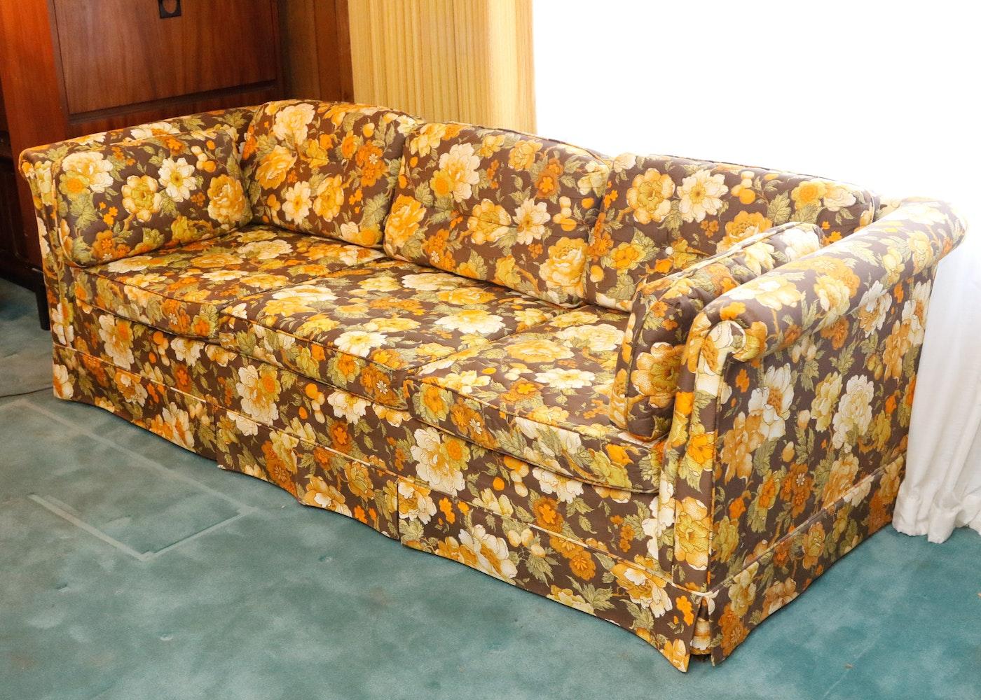 Vintage Franklin Furniture Co Floral Upholstered Sofa Ebth