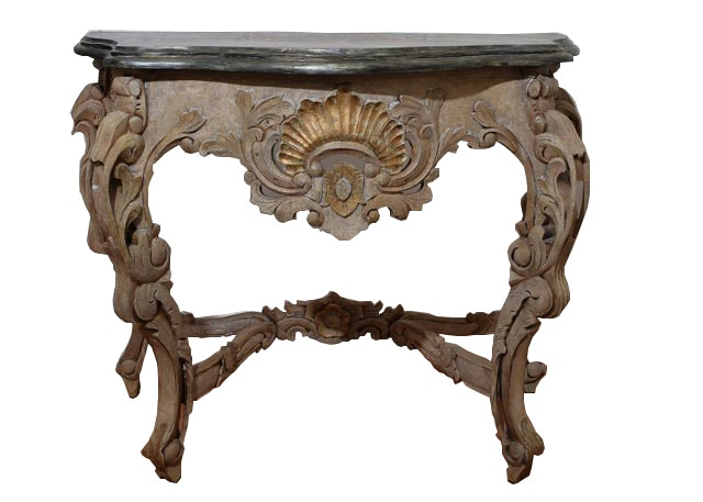 Superieur Ornate Demilune Table With Decorated Wooden Top
