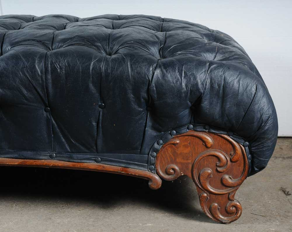 midnight blue faux leather chaise lounge ebth