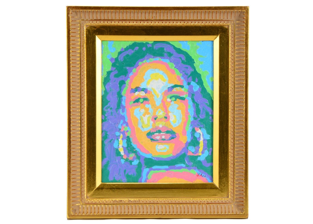 Tom Lohre Melted Oil Pastel Painting of Selena Perez