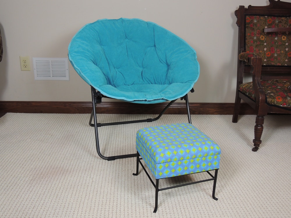 Turquoise Blue Papasan Chair And Foot Stool