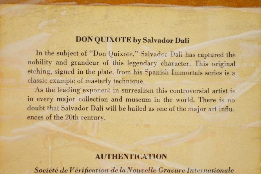 Salvador Dali Quot Don Quixote Quot 1966 Restrike Etching Ebth