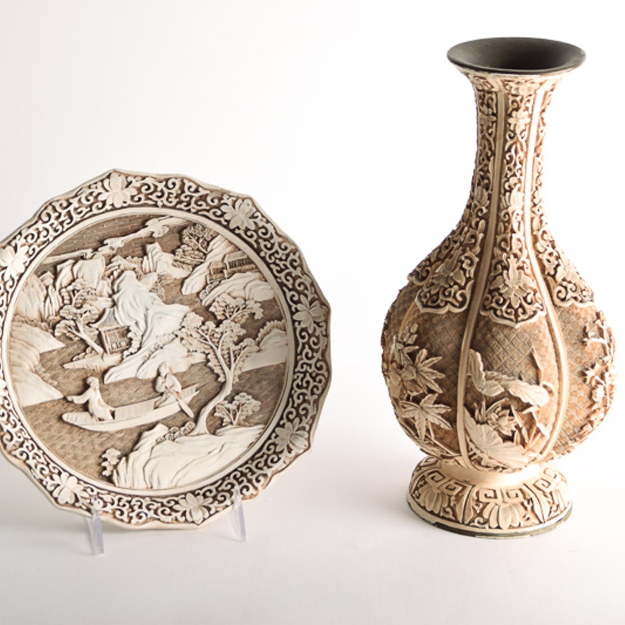 Ivory Dynasty Vase And Plate Ebth