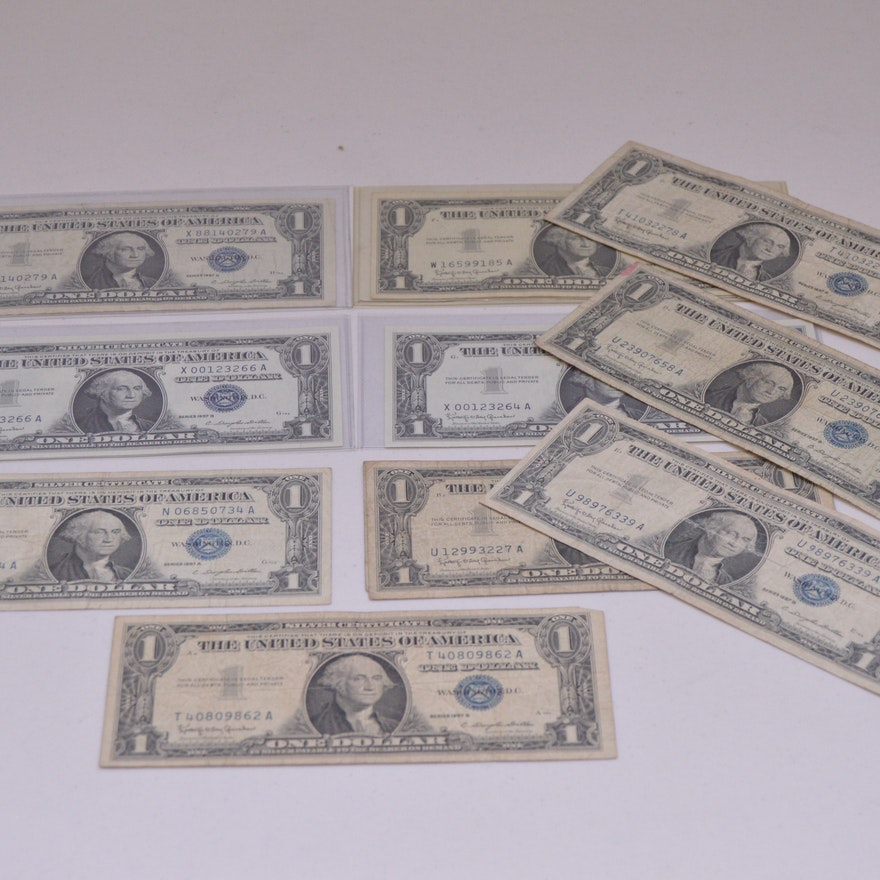 Collection Of 1957 Series Silver Certificate Dollar Bills Ebth