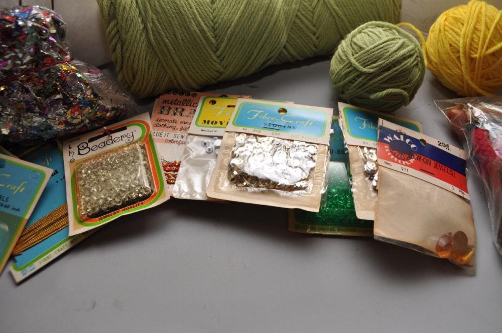 White sewing machine and craft supplies ebth for Sewing and craft supplies