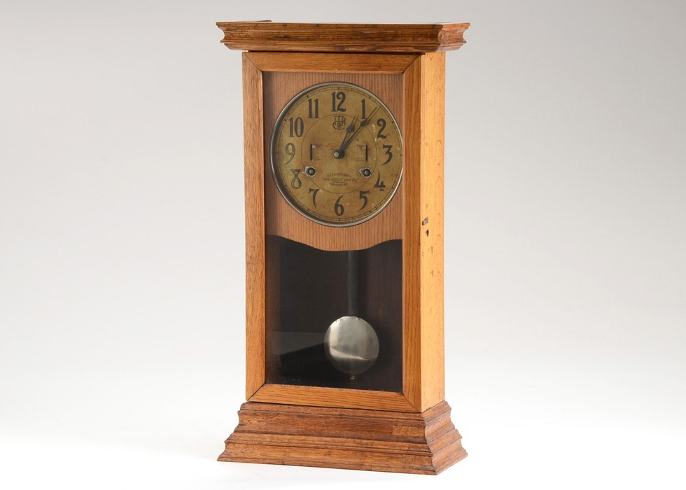 Antique International Time Recording Wall Clock Ebth