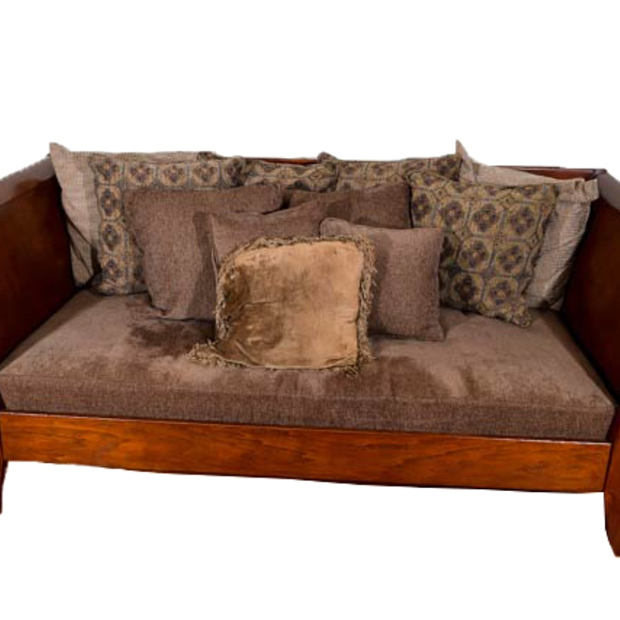 Wood Frame Sleigh Sofa With Cushion Ebth