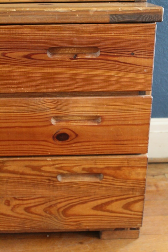 Vintage Pine This End Up Chest And Bookcase Ebth